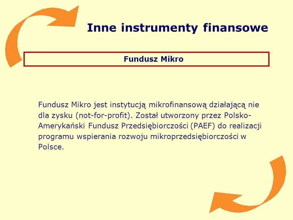 Inne instrumenty finansowe Fundusz Mikro Fundusz Mikro jest instytucją mikrofinansową działającą nie dla zysku (not-for-profit). Został utworzony prze