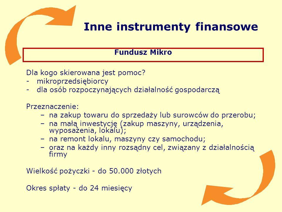 Inne instrumenty finansowe Fundusz Mikro Dla kogo skierowana jest pomoc? -mikroprzedsiębiorcy -dla osób rozpoczynających działalność gospodarczą Przez