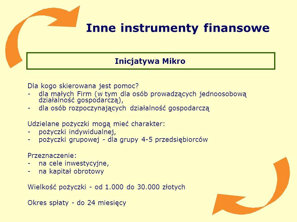 Inne instrumenty finansowe Inicjatywa Mikro Dla kogo skierowana jest pomoc? -dla małych Firm (w tym dla osób prowadzących jednoosobową działalność gos