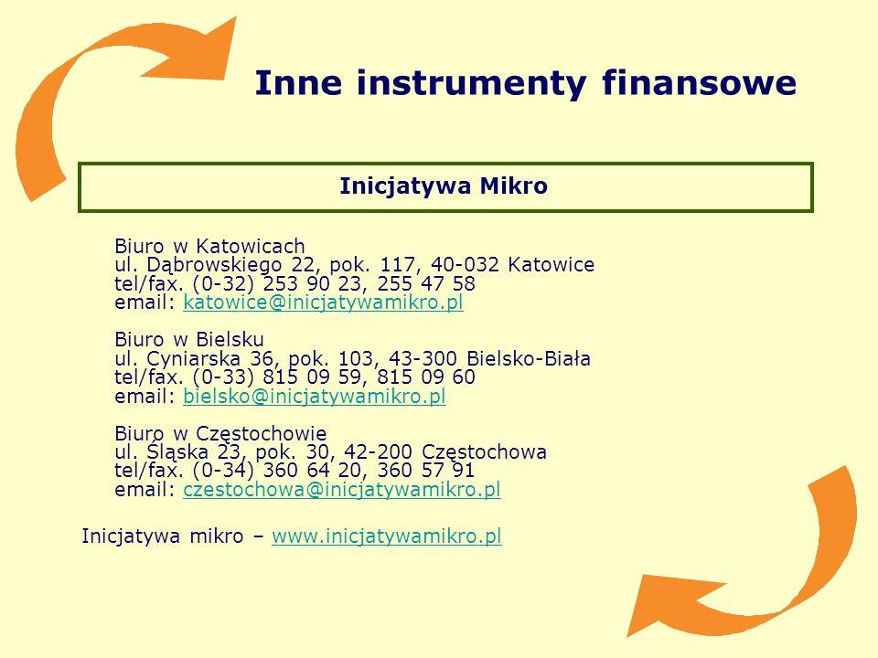Inne instrumenty finansowe Inicjatywa Mikro Biuro w Katowicach ul. Dąbrowskiego 22, pok. 117, 40-032 Katowice tel/fax. (0-32) 253 90 23, 255 47 58 ema