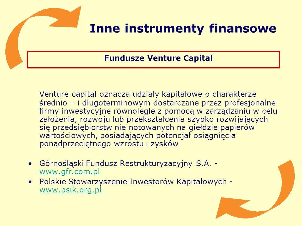 Inne instrumenty finansowe Fundusze Venture Capital Venture capital oznacza udziały kapitałowe o charakterze średnio – i długoterminowym dostarczane p