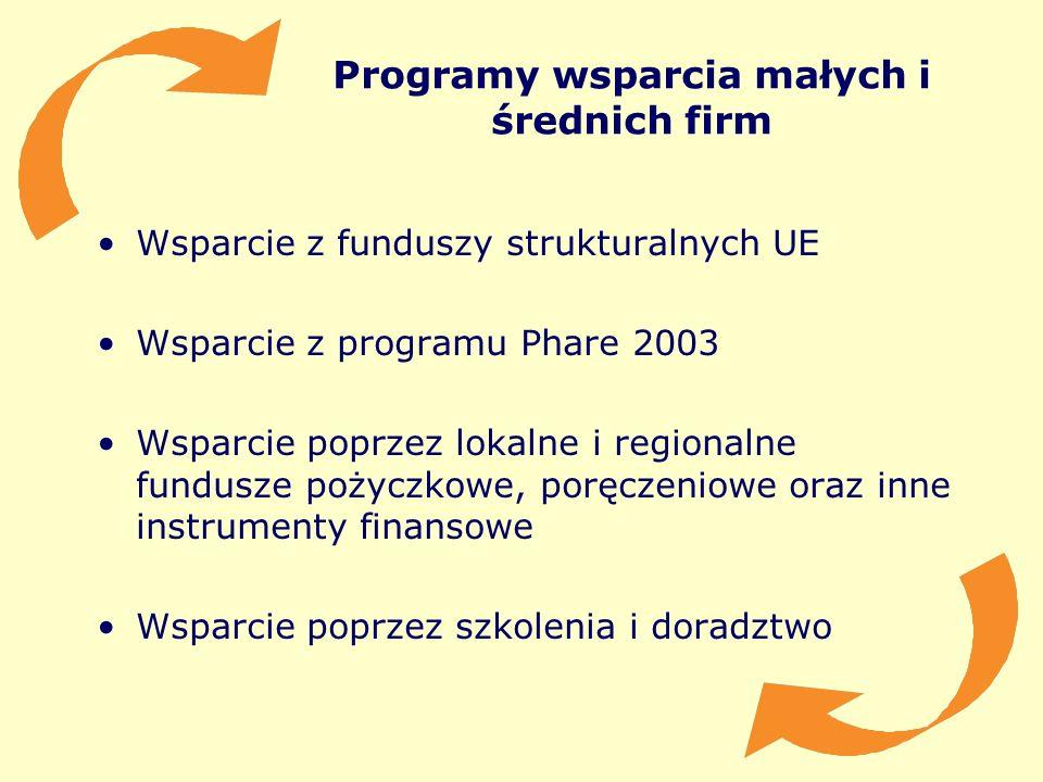 Programy wsparcia małych i średnich firm Wsparcie z funduszy strukturalnych UE Wsparcie z programu Phare 2003 Wsparcie poprzez lokalne i regionalne fu