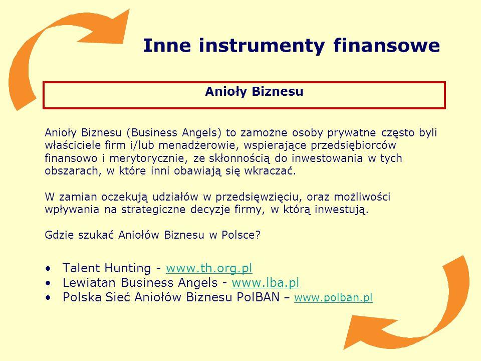 Inne instrumenty finansowe Anioły Biznesu Anioły Biznesu (Business Angels) to zamożne osoby prywatne często byli właściciele firm i/lub menadżerowie,