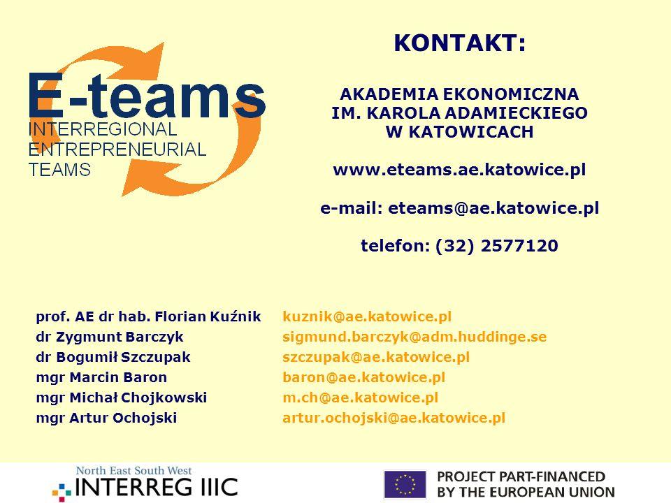 KONTAKT: AKADEMIA EKONOMICZNA IM. KAROLA ADAMIECKIEGO W KATOWICACH www.eteams.ae.katowice.pl e-mail: eteams@ae.katowice.pl telefon: (32) 2577120 prof.