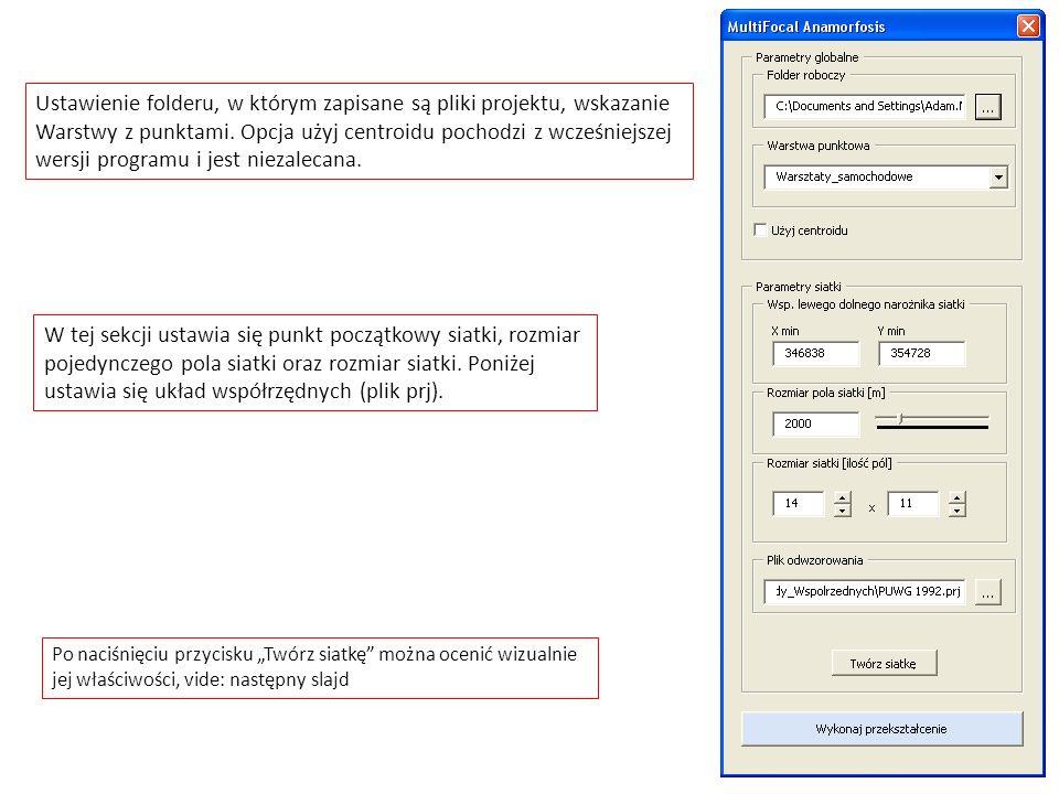 Ustawienie folderu, w którym zapisane są pliki projektu, wskazanie Warstwy z punktami. Opcja użyj centroidu pochodzi z wcześniejszej wersji programu i