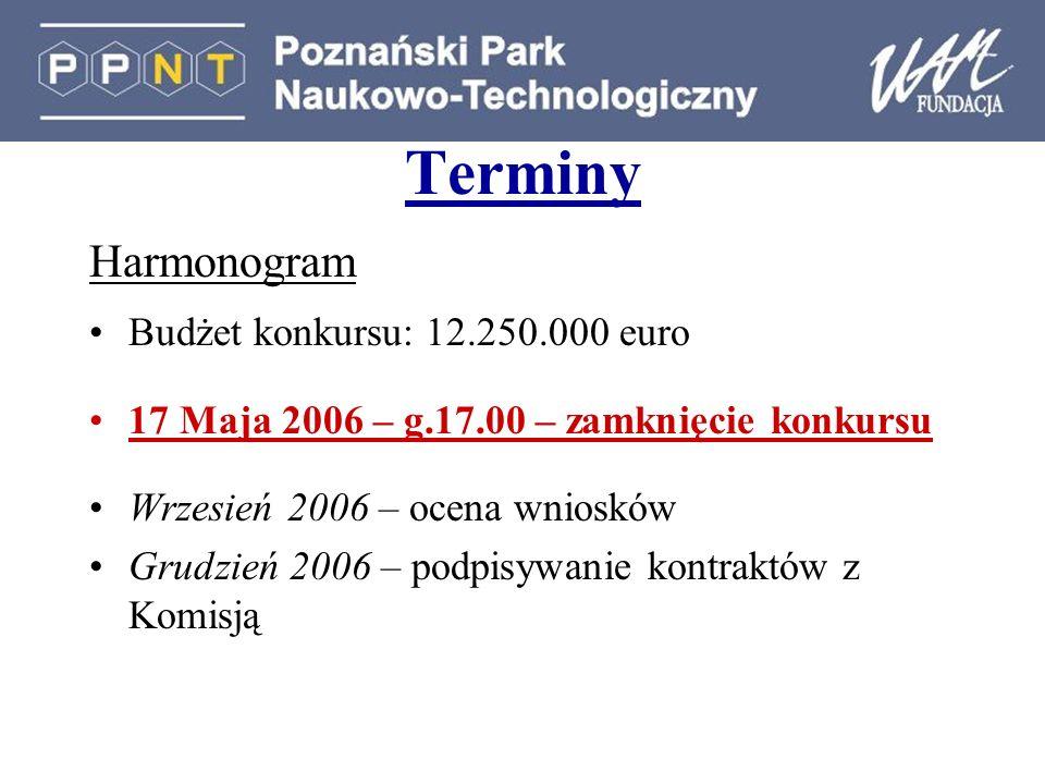 Terminy Harmonogram Budżet konkursu: 12.250.000 euro 17 Maja 2006 – g.17.00 – zamknięcie konkursu Wrzesień 2006 – ocena wniosków Grudzień 2006 – podpi