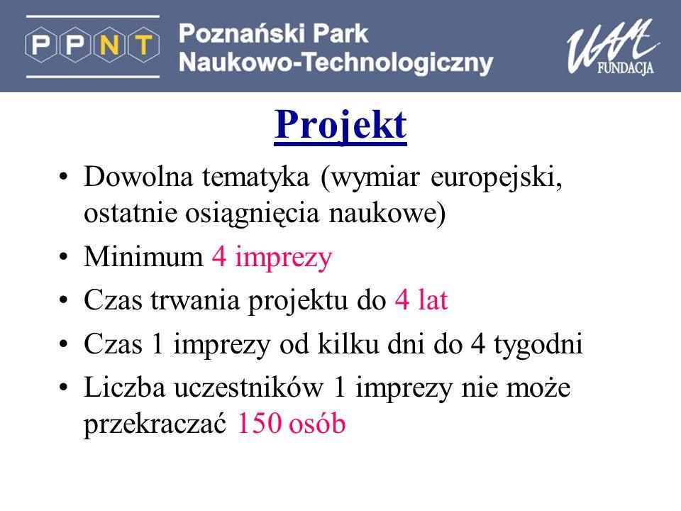 Projekt Dowolna tematyka (wymiar europejski, ostatnie osiągnięcia naukowe) Minimum 4 imprezy Czas trwania projektu do 4 lat Czas 1 imprezy od kilku dn