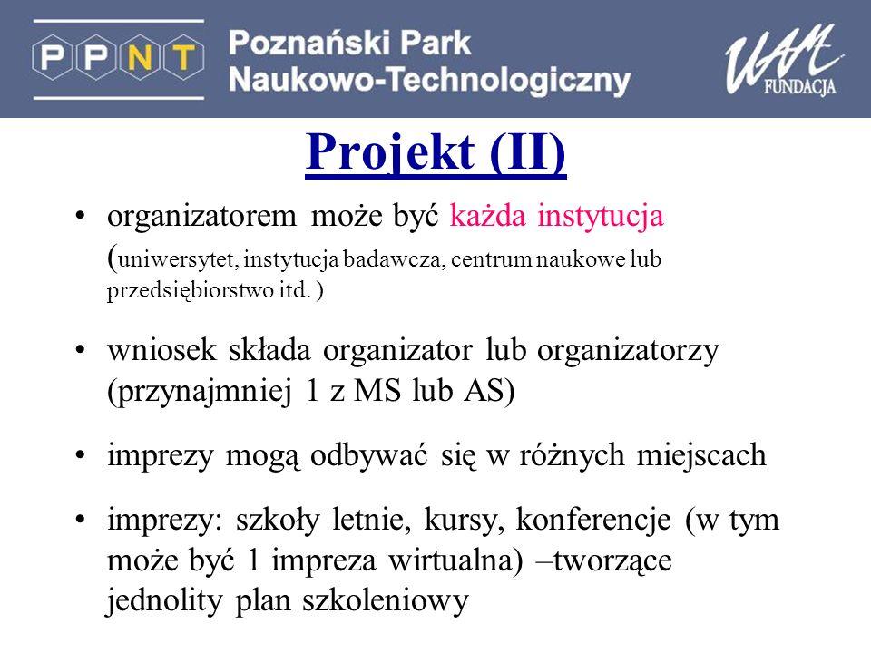 Projekt (II) organizatorem może być każda instytucja ( uniwersytet, instytucja badawcza, centrum naukowe lub przedsiębiorstwo itd. ) wniosek składa or