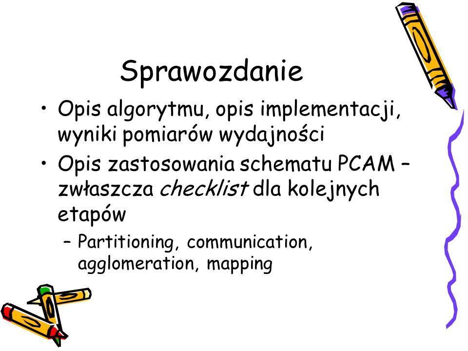 Sprawozdanie Opis algorytmu, opis implementacji, wyniki pomiarów wydajności Opis zastosowania schematu PCAM – zwłaszcza checklist dla kolejnych etapów