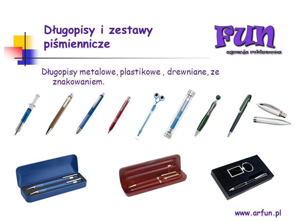 Długopisy i zestawy piśmiennicze Długopisy metalowe, plastikowe, drewniane, ze znakowaniem. www.arfun.pl