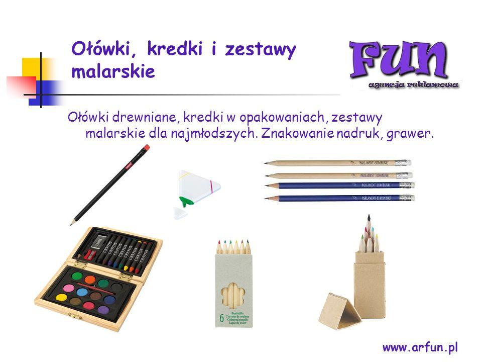 Ołówki, kredki i zestawy malarskie www.arfun.pl Ołówki drewniane, kredki w opakowaniach, zestawy malarskie dla najmłodszych. Znakowanie nadruk, grawer