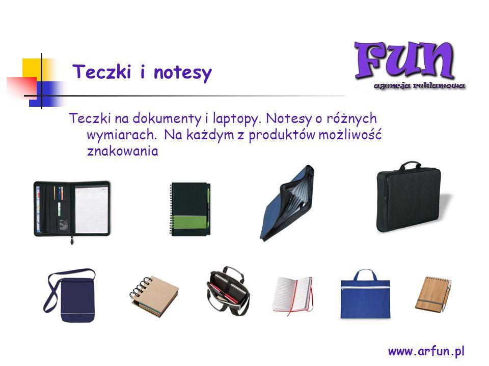 Teczki i notesy www.arfun.pl Teczki na dokumenty i laptopy. Notesy o różnych wymiarach. Na każdym z produktów możliwość znakowania