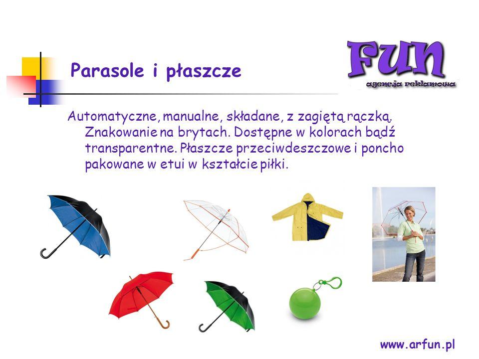 Parasole i płaszcze www.arfun.pl Automatyczne, manualne, składane, z zagiętą rączką. Znakowanie na brytach. Dostępne w kolorach bądź transparentne. Pł