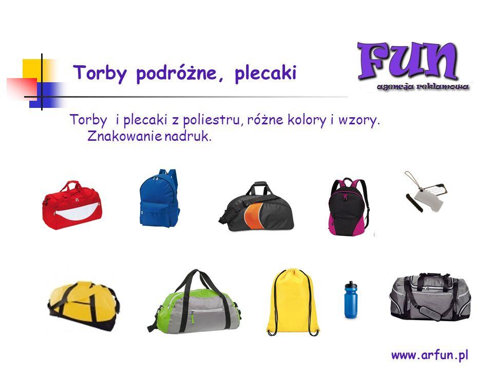 Torby podróżne, plecaki www.arfun.pl Torby i plecaki z poliestru, różne kolory i wzory. Znakowanie nadruk.
