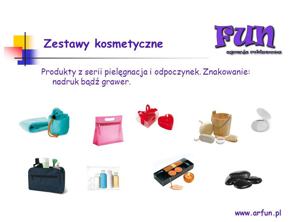 Zestawy kosmetyczne www.arfun.pl Produkty z serii pielęgnacja i odpoczynek. Znakowanie: nadruk bądź grawer.