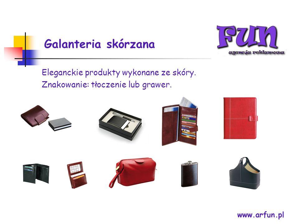 Galanteria skórzana www.arfun.pl Eleganckie produkty wykonane ze skóry. Znakowanie: tłoczenie lub grawer.