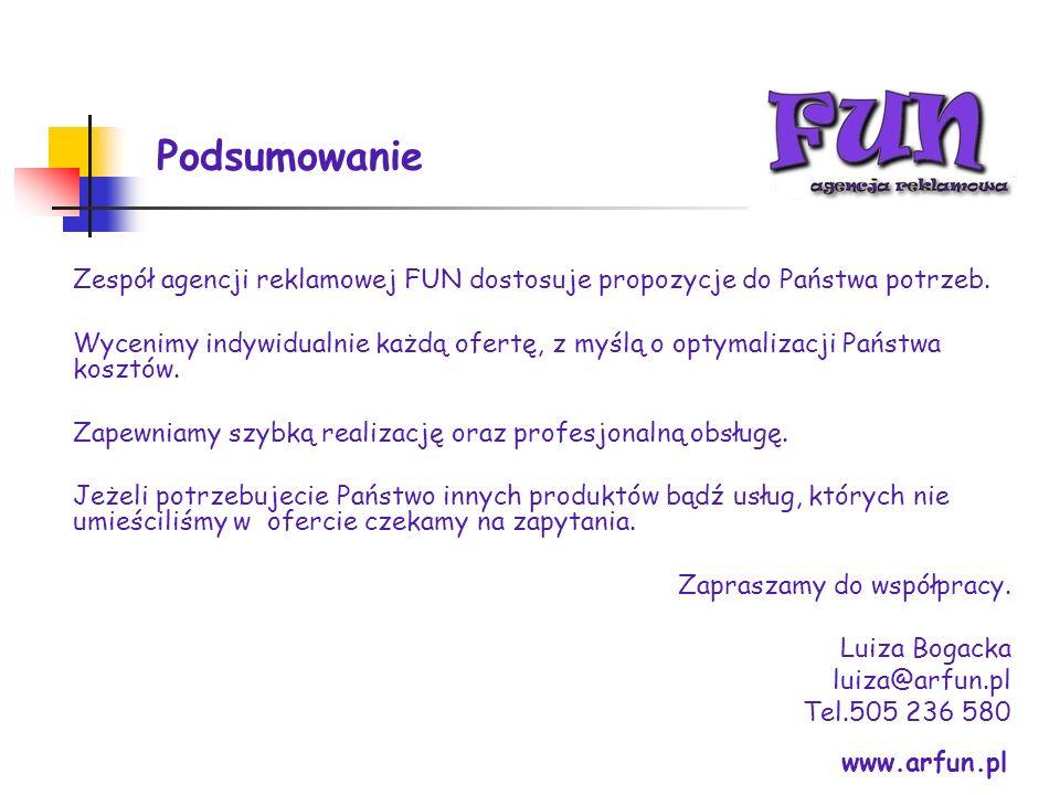 Podsumowanie www.arfun.pl Zespół agencji reklamowej FUN dostosuje propozycje do Państwa potrzeb. Wycenimy indywidualnie każdą ofertę, z myślą o optyma