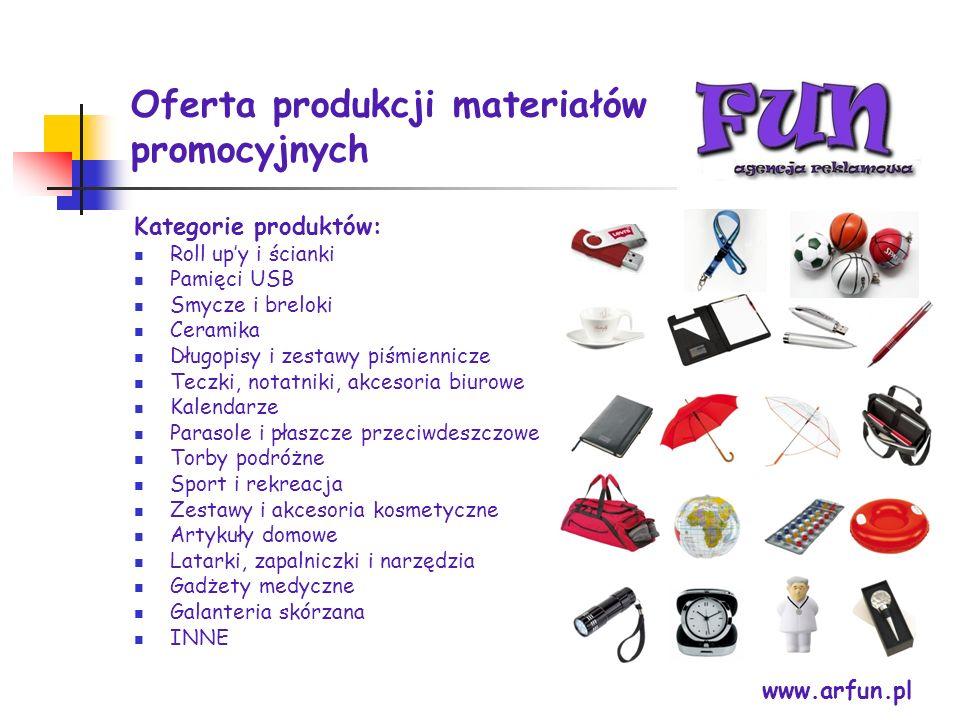 Oferta produkcji materiałów promocyjnych www.arfun.pl Kategorie produktów: Roll upy i ścianki Pamięci USB Smycze i breloki Ceramika Długopisy i zestaw