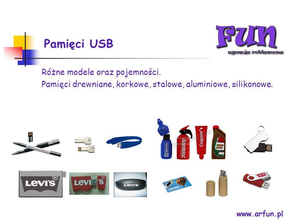 Pamięci USB www.arfun.pl Różne modele oraz pojemności. Pamięci drewniane, korkowe, stalowe, aluminiowe, silikonowe.