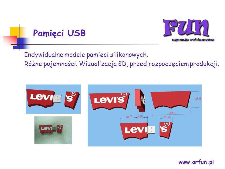 Pamięci USB www.arfun.pl Indywidualne modele pamięci silikonowych. Różne pojemności. Wizualizacja 3D, przed rozpoczęciem produkcji.