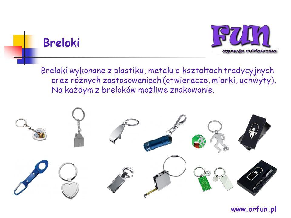 Breloki www.arfun.pl Breloki wykonane z plastiku, metalu o kształtach tradycyjnych oraz różnych zastosowaniach (otwieracze, miarki, uchwyty). Na każdy