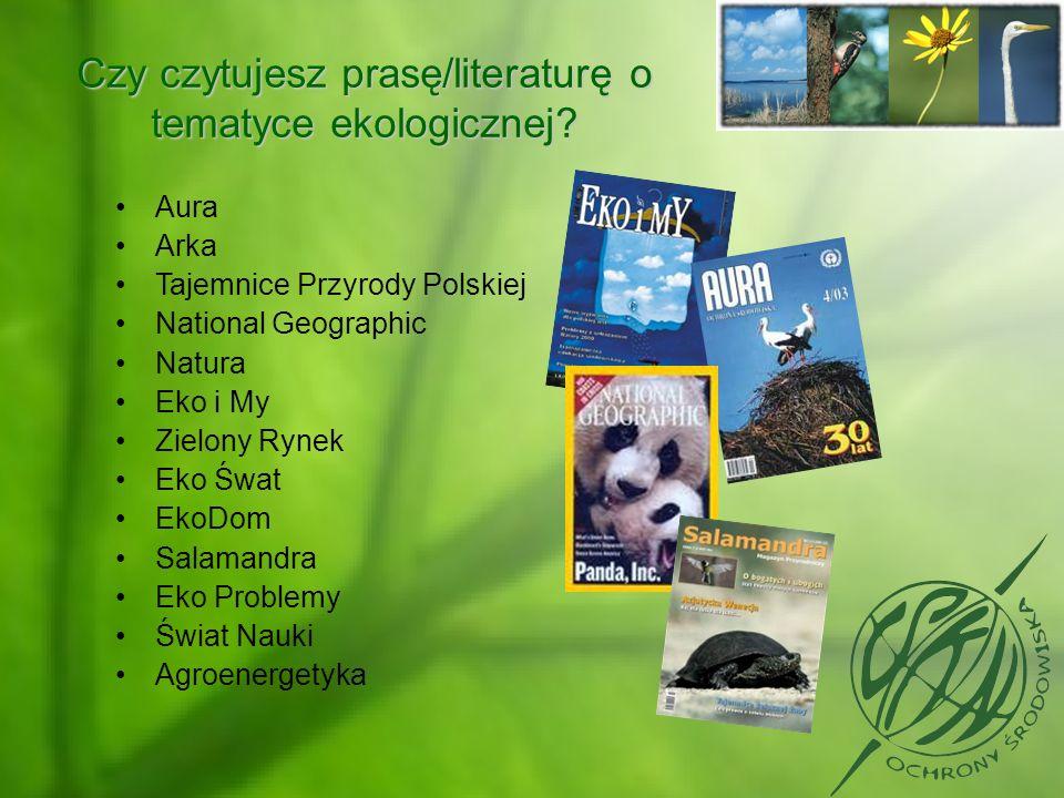 Czy czytujesz prasę/literaturę o tematyce ekologicznej? Aura Arka Tajemnice Przyrody Polskiej National Geographic Natura Eko i My Zielony Rynek Eko Św