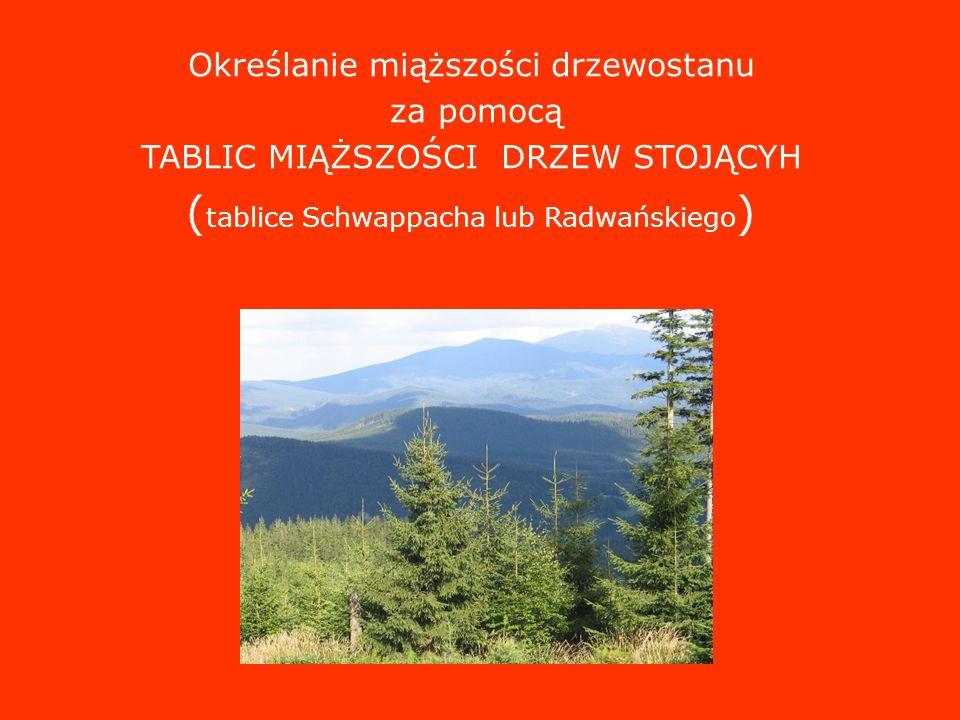 Określanie miąższości drzewostanu za pomocą TABLIC MIĄŻSZOŚCI DRZEW STOJĄCYH ( tablice Schwappacha lub Radwańskiego )
