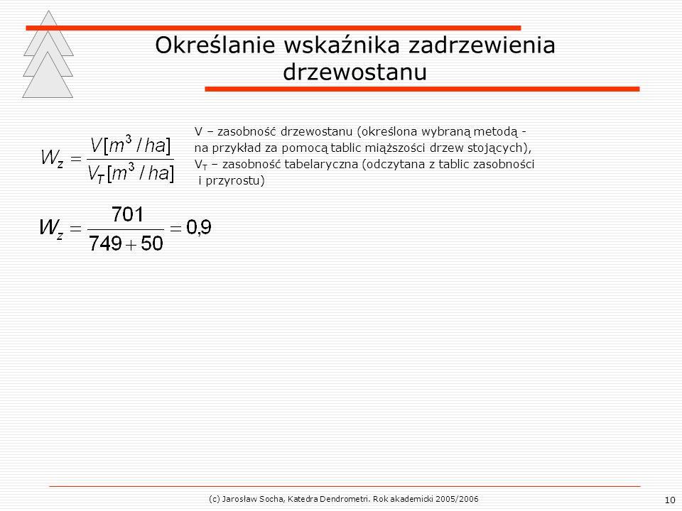 10 Określanie wskaźnika zadrzewienia drzewostanu V – zasobność drzewostanu (określona wybraną metodą - na przykład za pomocą tablic miąższości drzew s