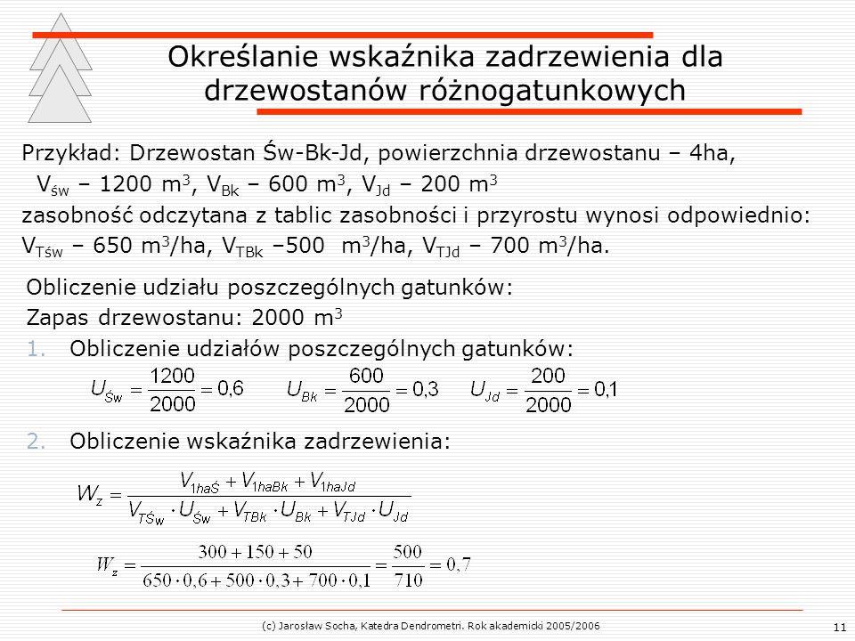 (c) Jarosław Socha, Katedra Dendrometri. Rok akademicki 2005/2006 11 Określanie wskaźnika zadrzewienia dla drzewostanów różnogatunkowych Przykład: Drz