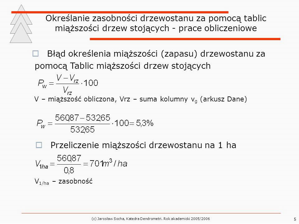 (c) Jarosław Socha, Katedra Dendrometri. Rok akademicki 2005/2006 5 Określanie zasobności drzewostanu za pomocą tablic miąższości drzew stojących - pr