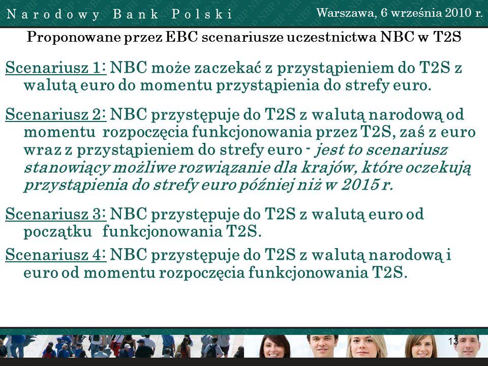 13 Proponowane przez EBC scenariusze uczestnictwa NBC w T2S Scenariusz 1: NBC może zaczekać z przystąpieniem do T2S z walutą euro do momentu przystąpi