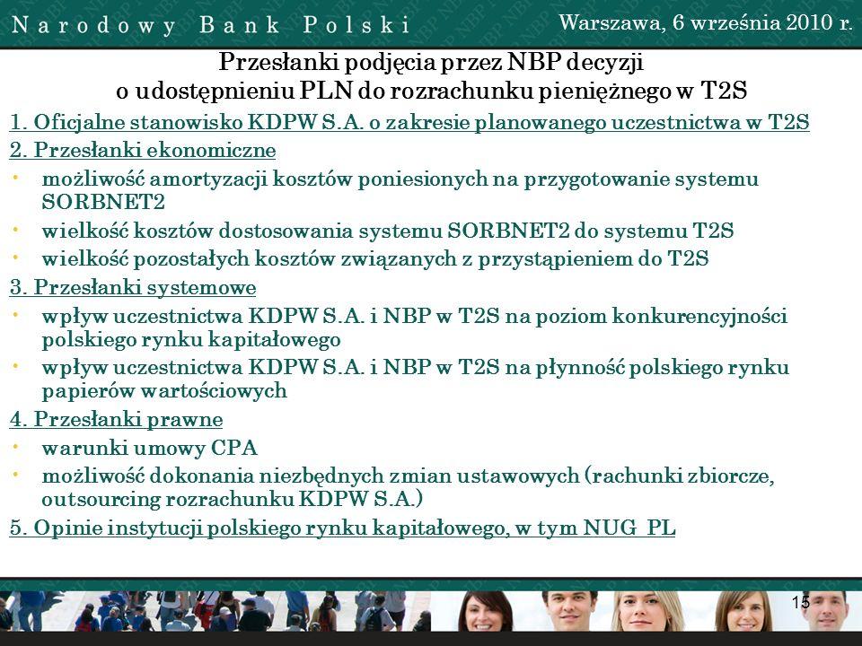 15 Przesłanki podjęcia przez NBP decyzji o udostępnieniu PLN do rozrachunku pieniężnego w T2S 1. Oficjalne stanowisko KDPW S.A. o zakresie planowanego