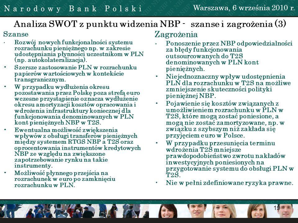 19 Analiza SWOT z punktu widzenia NBP - szanse i zagrożenia (3) Szanse Rozwój nowych funkcjonalności systemu rozrachunku pieniężnego np. w zakresie ud