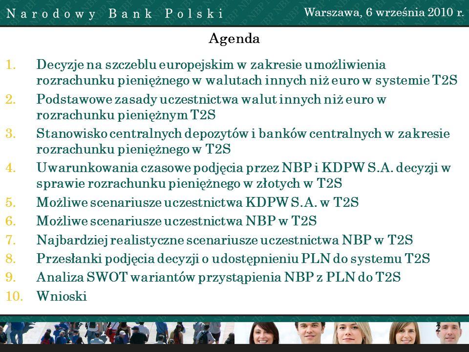2 Agenda 1.Decyzje na szczeblu europejskim w zakresie umożliwienia rozrachunku pieniężnego w walutach innych niż euro w systemie T2S 2.Podstawowe zasa
