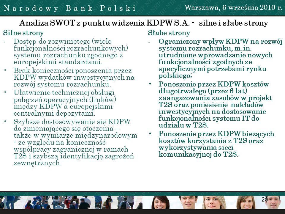 20 Analiza SWOT z punktu widzenia KDPW S.A. - silne i słabe strony Silne strony Dostęp do rozwiniętego (wiele funkcjonalności rozrachunkowych) systemu