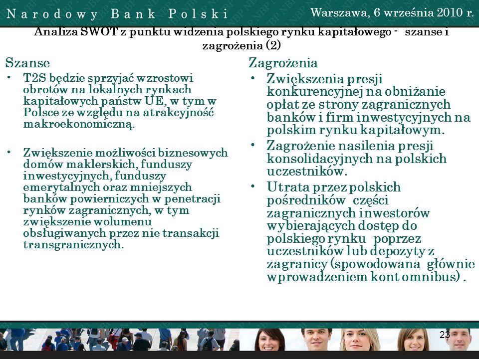 23 Analiza SWOT z punktu widzenia polskiego rynku kapitałowego - szanse i zagrożenia (2) Szanse T2S będzie sprzyjać wzrostowi obrotów na lokalnych ryn