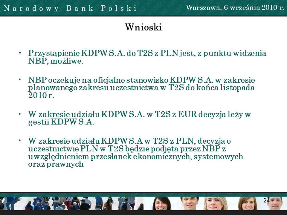 24 Wnioski Przystąpienie KDPW S.A. do T2S z PLN jest, z punktu widzenia NBP, możliwe. NBP oczekuje na oficjalne stanowisko KDPW S.A. w zakresie planow