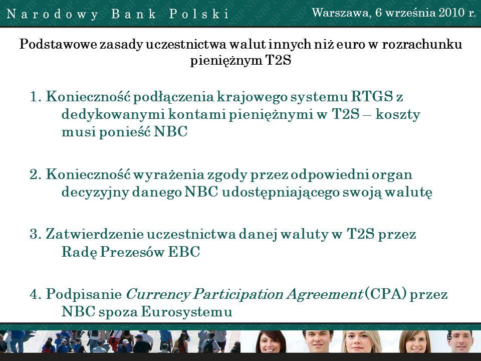 6 Podstawowe zasady uczestnictwa walut innych niż euro w rozrachunku pieniężnym T2S 1. Konieczność podłączenia krajowego systemu RTGS z dedykowanymi k
