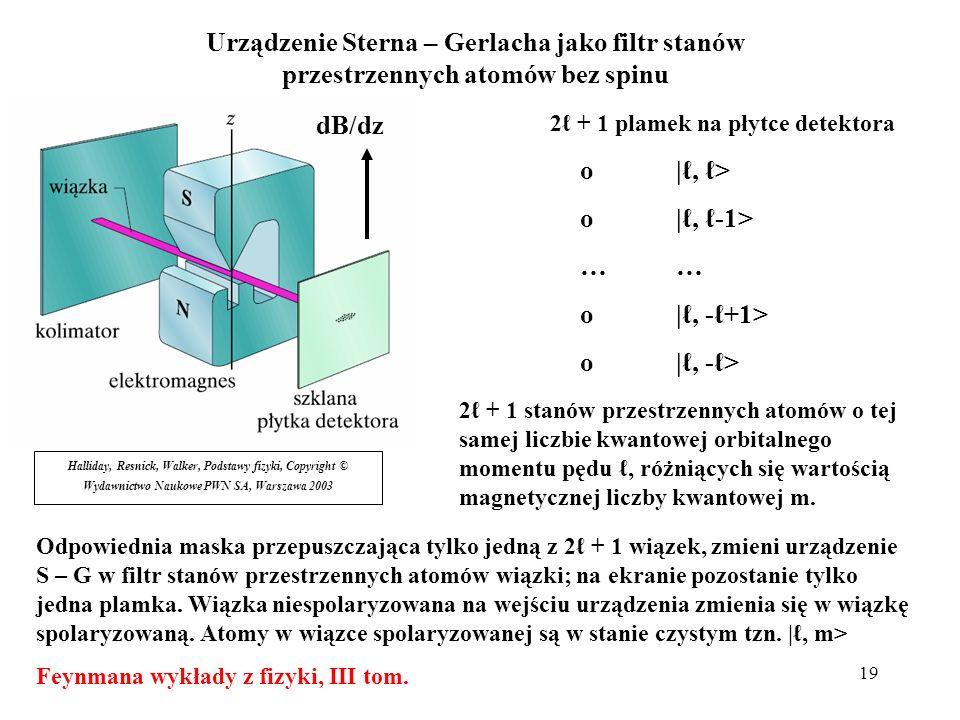 19 Halliday, Resnick, Walker, Podstawy fizyki, Copyright © Wydawnictwo Naukowe PWN SA, Warszawa 2003 dB/dz o|, > o|, -1>… o|, -+1> o|, -> Urządzenie S