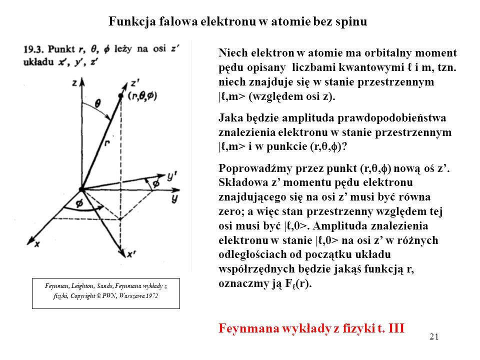 21 Funkcja falowa elektronu w atomie bez spinu Niech elektron w atomie ma orbitalny moment pędu opisany liczbami kwantowymi i m, tzn. niech znajduje s