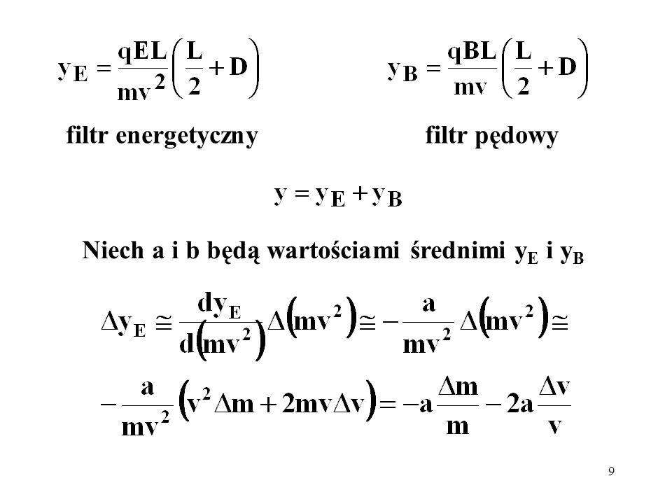 9 Niech a i b będą wartościami średnimi y E i y B filtr energetyczny filtr pędowy
