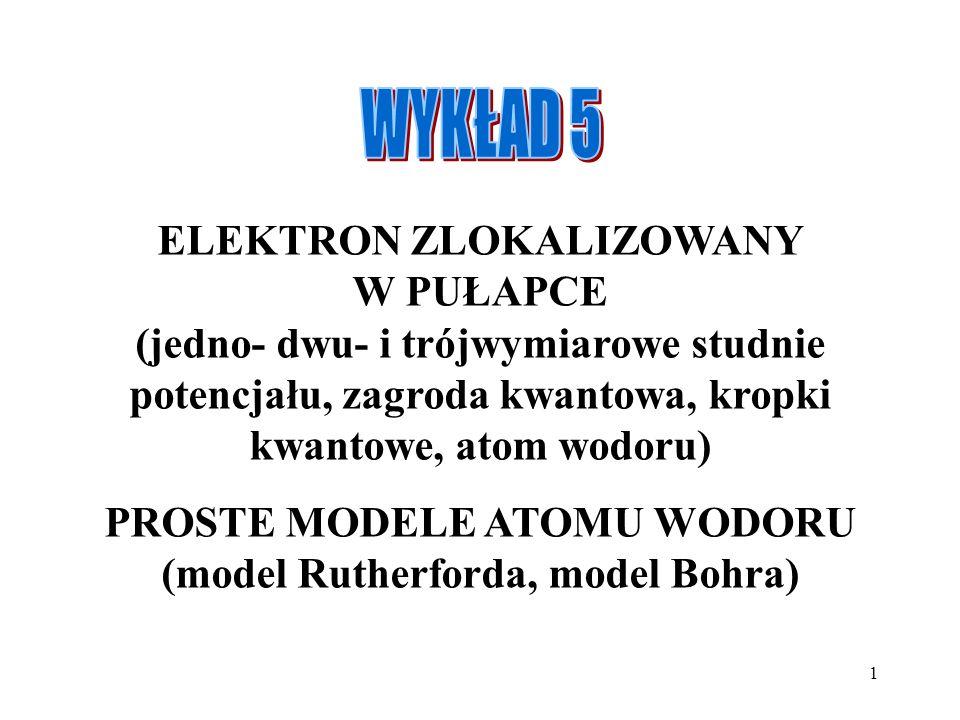 1 ELEKTRON ZLOKALIZOWANY W PUŁAPCE (jedno- dwu- i trójwymiarowe studnie potencjału, zagroda kwantowa, kropki kwantowe, atom wodoru) PROSTE MODELE ATOM