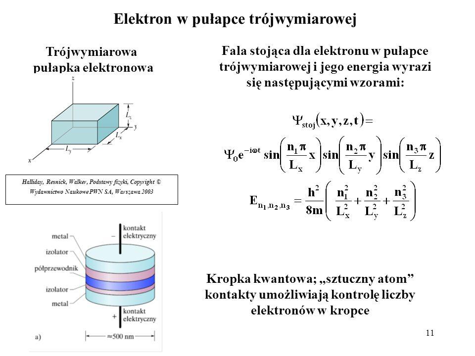 11 Elektron w pułapce trójwymiarowej Trójwymiarowa pułapka elektronowa Halliday, Resnick, Walker, Podstawy fizyki, Copyright © Wydawnictwo Naukowe PWN