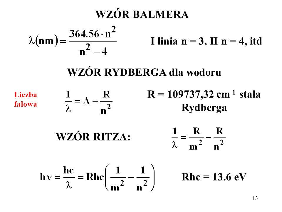 13 WZÓR BALMERA I linia n = 3, II n = 4, itd WZÓR RYDBERGA dla wodoru R = 109737,32 cm -1 stała Rydberga WZÓR RITZA: Rhc = 13.6 eV Liczba falowa