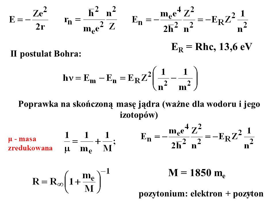20 E R = Rhc, 13,6 eV Poprawka na skończoną masę jądra (ważne dla wodoru i jego izotopów) M = 1850 m e pozytonium: elektron + pozyton μ - masa zreduko