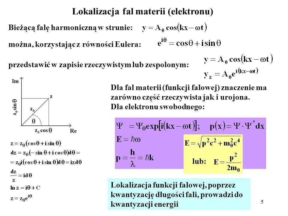 5 Lokalizacja fal materii (elektronu) Bieżącą falę harmoniczną w strunie: można, korzystając z równości Eulera: przedstawić w zapisie rzeczywistym lub