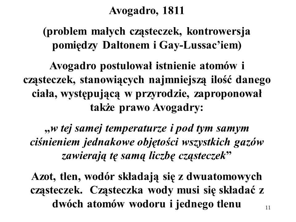11 Avogadro, 1811 (problem małych cząsteczek, kontrowersja pomiędzy Daltonem i Gay-Lussaciem) Avogadro postulował istnienie atomów i cząsteczek, stano