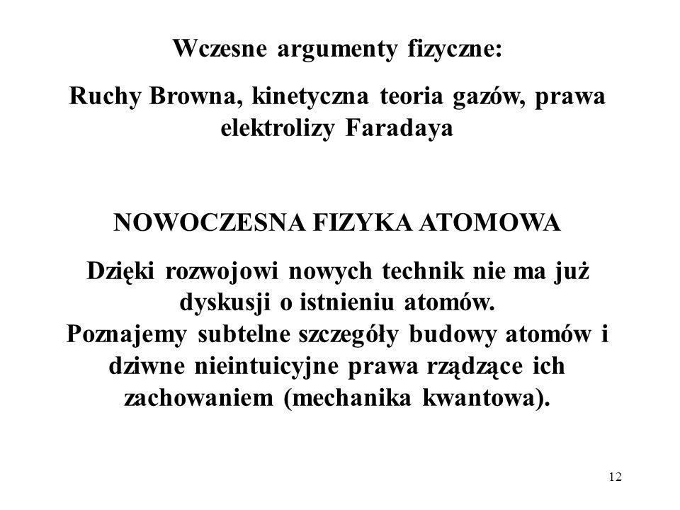 12 Wczesne argumenty fizyczne: Ruchy Browna, kinetyczna teoria gazów, prawa elektrolizy Faradaya NOWOCZESNA FIZYKA ATOMOWA Dzięki rozwojowi nowych tec