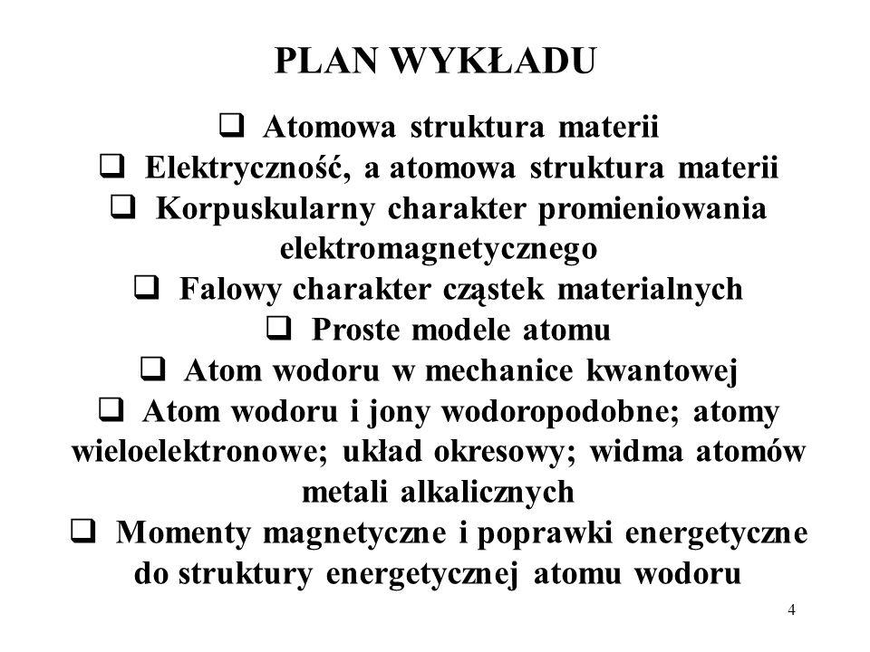 4 PLAN WYKŁADU Atomowa struktura materii Elektryczność, a atomowa struktura materii Korpuskularny charakter promieniowania elektromagnetycznego Falowy
