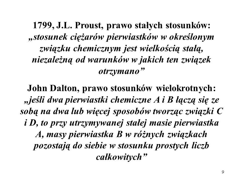 9 1799, J.L. Proust, prawo stałych stosunków: stosunek ciężarów pierwiastków w określonym związku chemicznym jest wielkością stałą, niezależną od waru
